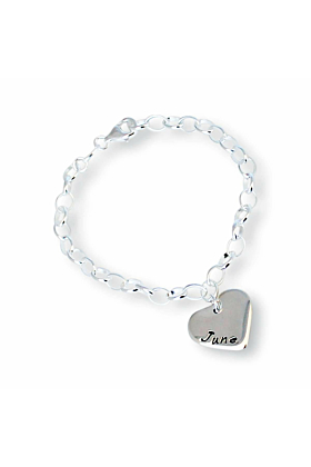 Sterling Silver Personalised Love Heart Bracelet