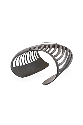 Black Rhodium Plated Cut-Out Sharch Bangle