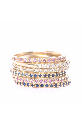 Gold, Pink Sapphire & Ruby Eternity Ring