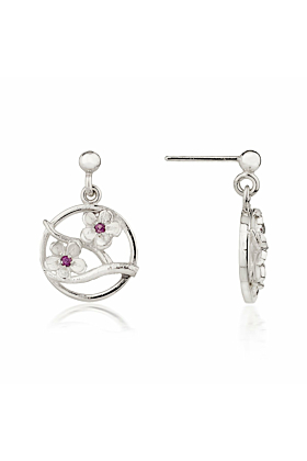 Silver Cherry Blossom Drop Earrings With Garnets