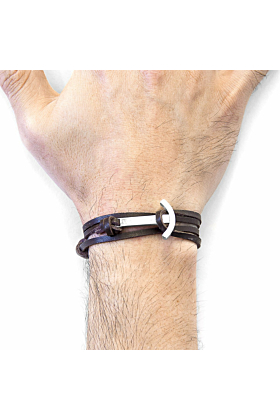 Dark Brown Clipper Anchor Silver and Flat Leather Bracelet