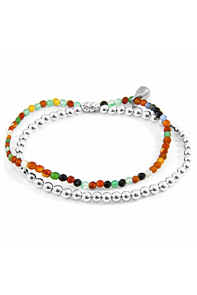 Multicoloured Agate Harmony Silver and Stone Bracelet