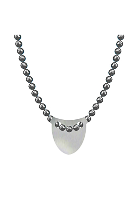 Made In Britain Necklace - Sterling Silver Bowed Shield