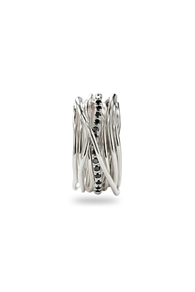Sterling Silver Classic Argento Diamanti Neri 13 Ring
