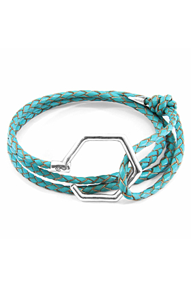 Turquoise Blue Storey Silver & Braided Leather Bracelet