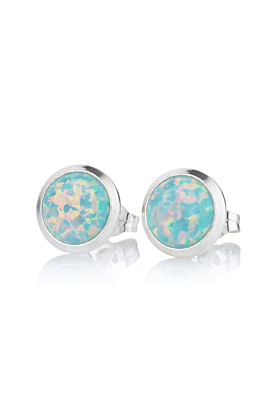 Sterling Silver Green Opal Stud Earrings