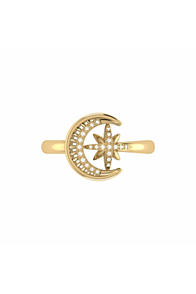 14kt Yellow Gold Plated Moon-Cradled Star Ring