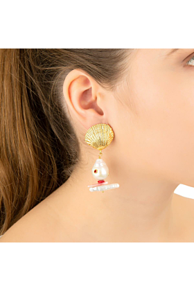 Yellow Gold Plated Scallop Shell Baroque Pearl Coral Earrings