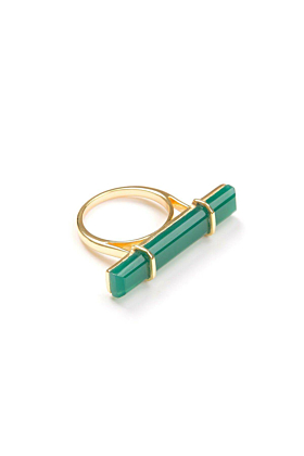 18kt Yellow Gold Vermeil Urban Bar Ring With Green Onyx