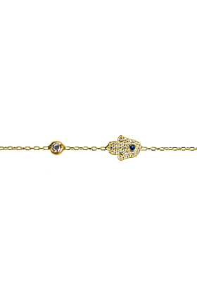 Yellow Gold Plated Silver Hamsa Hand Bracelet