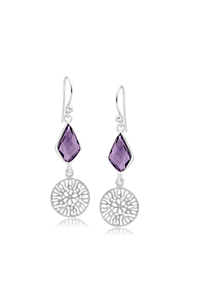 Sterling Silver Drop Earrings With Faceted Purple Amethyst