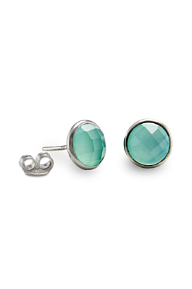 Sterling Silver & Faceted Aqua Chalcedony Stud Earrings