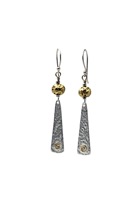 Gold Plated Lava Stone With Textured Silver Slither Drop Earrings