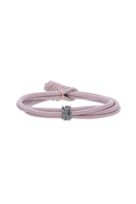 Leather Rosa Mini Bracelet With White Gold