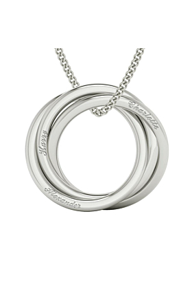 Russian Rings Necklace - Sterling Silver