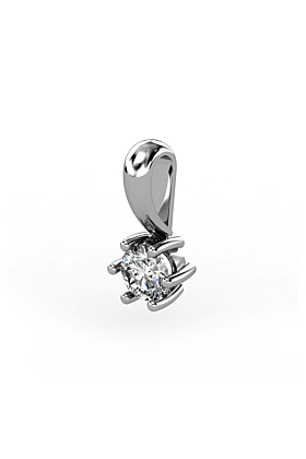 18kt White Gold & Diamond Solitaire Pendant III