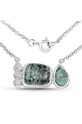 Rhodium Plated Silver Contemporary Jasper Pendant