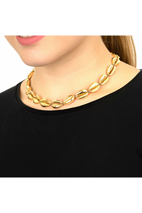 Yellow Gold Plated Cowrie Shell Choker Strand Necklace