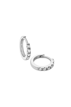 18kt White Gold & Diamond Huggie Earrings