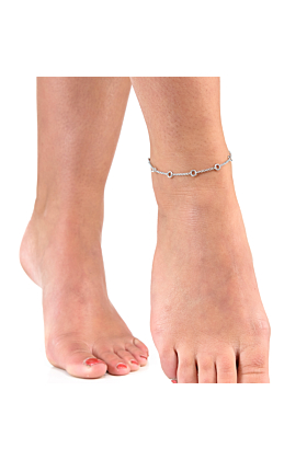 Rhodium Plated Elements Anklet