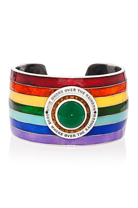 18kt Gold Enamel Somewhere Over The Rainbow Cuff