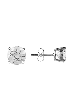 Sterling Silver Plated Solitaire White Cubic Zirconia Earrings