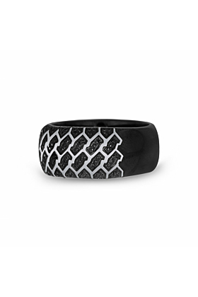 Sterling Silver & Black Diamond Fast Track Tire Tread Band Ring