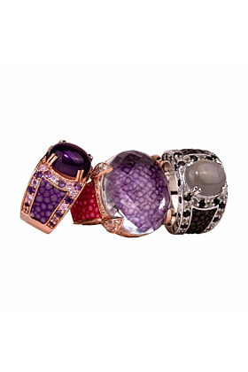 Kir Royal With Purple Amethyst And Stingray Leather