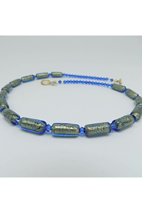 Murano Glass Bead Into The Blue Necklace