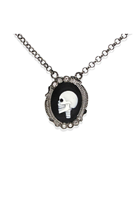 Rhodium Plated Silver Skully Cameo Necklace