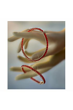 Sterling Silver Red Crystal Girdle Bangle