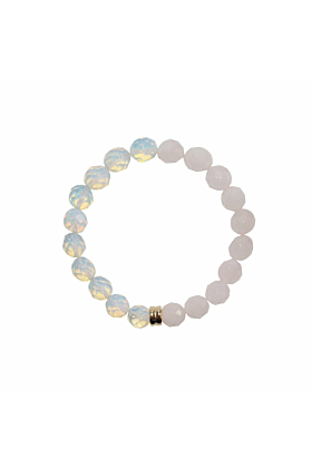 14kt Yellow Gold Plated Opal & Rose Quartz Orbis Bracelet