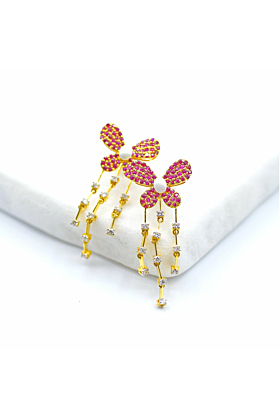 14kt Yellow Gold Vintage Butterfly Ruby Diamond Earrings