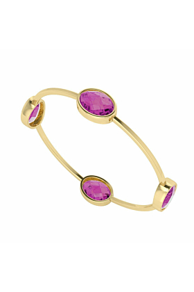 Four Stone Oval Gemstone Gold Plated Bangle