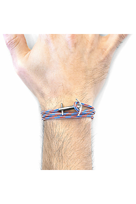 Project-RWB Red White and Blue Admiral Anchor Silver and Rope Bracelet