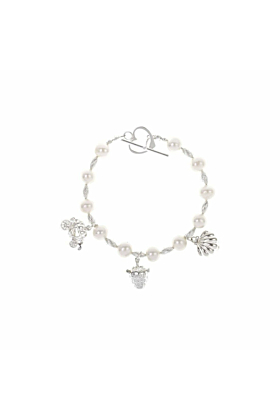 Pearl & Silver Bracelet With 3 Silver Magical Charms