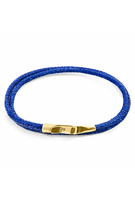 Azure Blue Liverpool 9ct Yellow Gold and Stingray Leather Bracelet