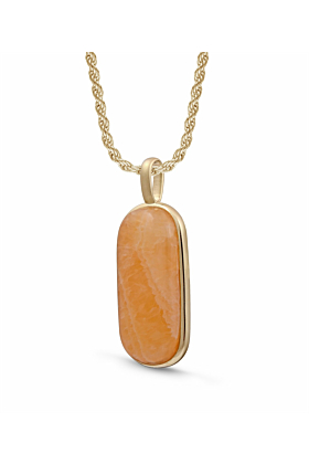 14kt Yellow Gold Plated Silver & Yellow Lace Agate Tag