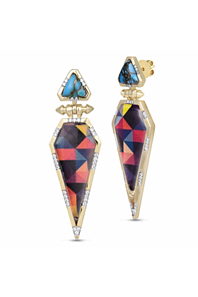 Yellow Gold Plated Silver & Turquoise Fearless Diamond Earrings