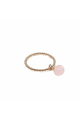 14kt Yellow Gold Plated Pink Jade Orb Ring