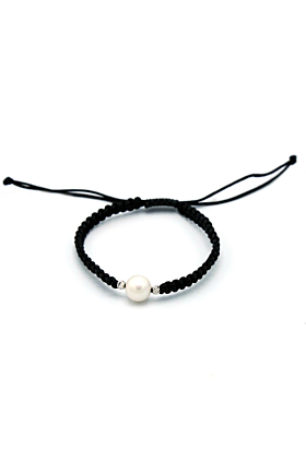 Shamballa Pearl Cord Bracelet With 18kt White Gold