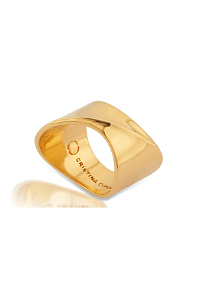 Yellow Gold Vermeil Solid Polished Sharch Ring