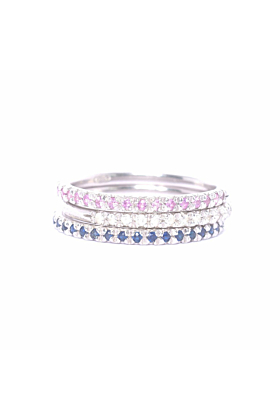 Silver & Pink Sapphire Demi Pointe Ring