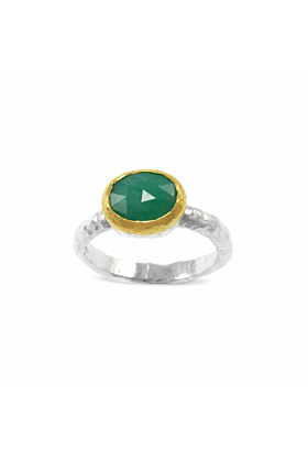 Sterling Silver, Gold & Emerald  Quadratus Ring | Paul Magen