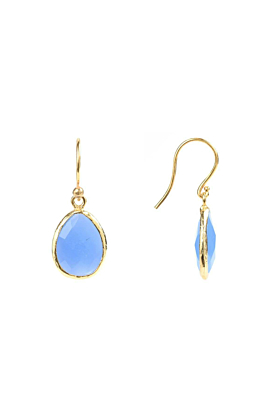 Gold Petite Drop Earring Dark Blue Chalcedony