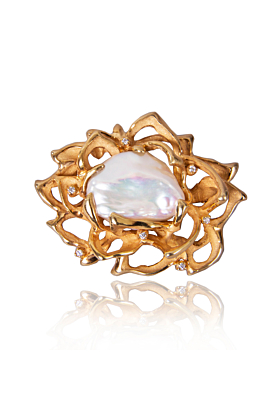Gold Plated Silver Lotus Brooch With Baroque Pearl