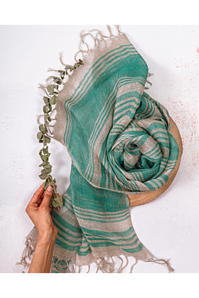 Green Stripe Linen Scarf