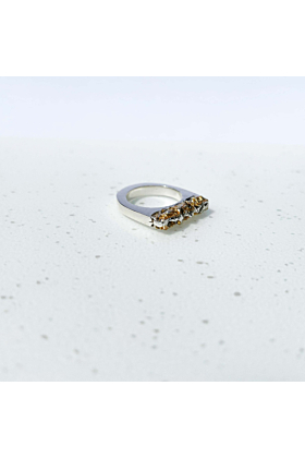 Sterling Silver Fira Ring with Gold Leaf