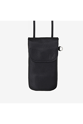 Phone bag black worn as breast pocket