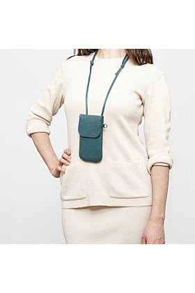 Phone bag jade/green worn as breast pocket